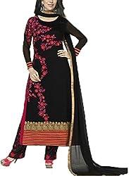 Vivacity Women's Faux Georgette Unstitched Dress Material (Fiona-5189_Black_Free Size)
