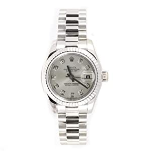 Rolex Ladys President New Style Heavy Band 18k White Gold Model 179179 Fluted Bezel Silver Diamond Dial