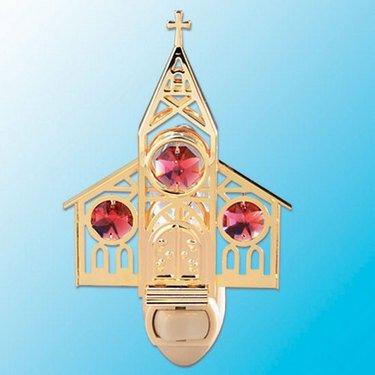 24k Gold Church Night Light - Red Swarovski Crystal