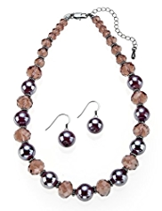 M&S Collection Swirl Glass Multi-Faceted Necklace & Earrings Set