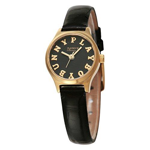 [プレイボーイバニー]Playboy Bunny 腕時計 004 ゴールド ブラック 黒革 クォーツ PB004YBK レディース