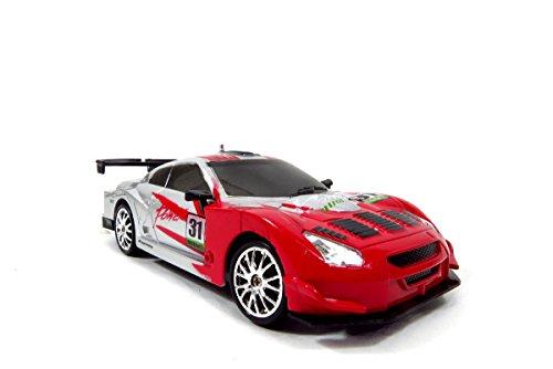 TeamRC® Super Fast Drift King R/C Sports Car Remote Control Drifting Race Car 1:24 + Headlights, Backlights, Side Lights + 2 Sets of Tires (Red) (Drifting Rc Car compare prices)