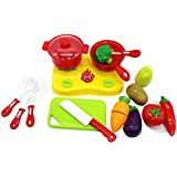 ZERBO 19 Piece Mini Cooking & Chopping Pretend Play Stove Appliance With Sliceable Play Food Toy Set For Kids