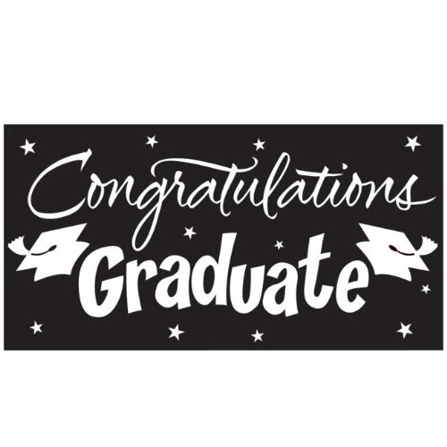 Check Out This Congratulations Graduate Black Graduation Giant Banner