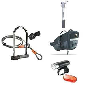 kryptonite bicycle u lock with topeak pump wedge pack and cate. Black Bedroom Furniture Sets. Home Design Ideas