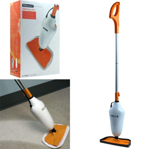 PROlectrix 1500W Steam Mop w/ Microfiber Pads Citrus Tange