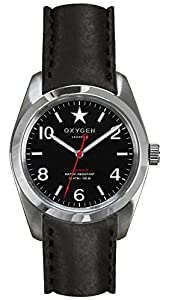 Oxygen Washington 38 Unisex Quartz Watch with Black Dial Analogue Display and Black Leather Strap EX-S-WAS-38-CL-BL