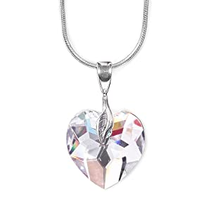 olive n figs genuine swarovski crystal heart pendant necklace with 18inch sterling silver shiny snake chain crystal clear