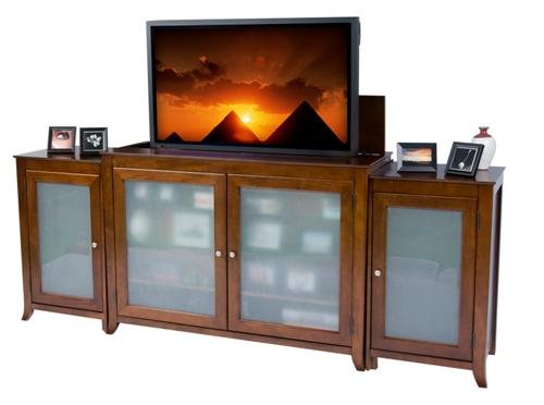 """Touchstone Cherry Brookside Tv Lift Cabinet For Flat Screen Tvs Up To 55"""" With Side Media Cabinets"""