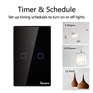 WIFI Smart Light Switch, Sonoff Wireless Touch Wall Switch Works with Alexa and Google Home,Touch Tempered Glass Panel, Remote Control & 433MHz RF Control, No Hub Required,IFTTT Function(T3-3gang) (Color: Black, Tamaño: T3US3C)