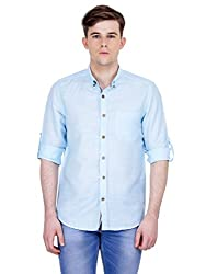4Stripes Men's Cotton Linen Shirt (4ssh030_M_BLUE)