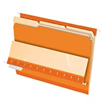 Pendaflex 435013ORA Pendaflex Interior File Folders, 1/3 Cut, Top Tab, Legal, Orange, 100/Box