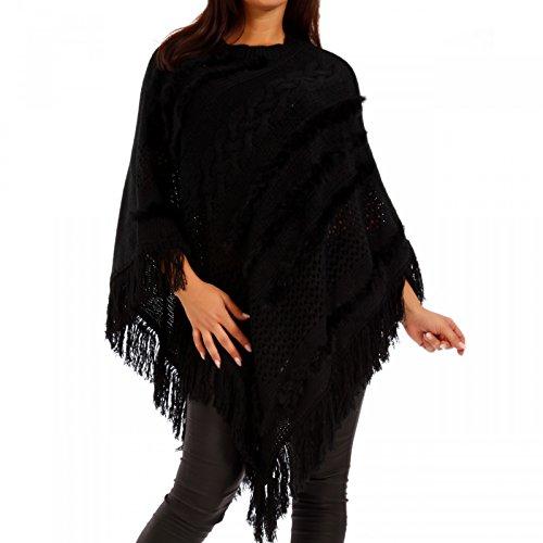Young-Fashion Damen Poncho Cape Umhang Hippie mit Zopfmuster und Lochstrickmuster, Farbe:Schwarz;Größe:36/38/40