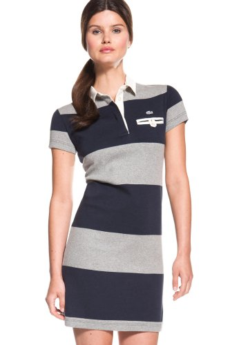 Short Sleeve Bold Stripe Rugby Polo Dress
