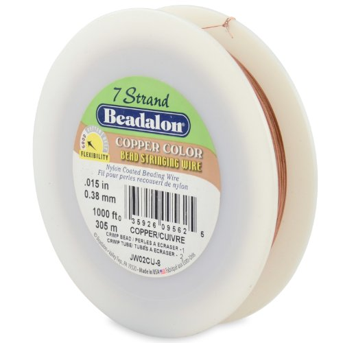 Beadalon 7-Strand Bead Stringing Wire, 0.015-Inch, Copper Color, 1000-Feet