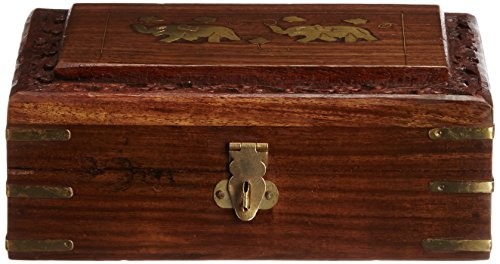 Pindia Traditional yet beautiful wooden duel elephant top brass work jwellery box