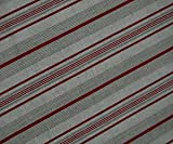 Oilcloth Table Cloth Linen Fabric Classic French Style Red Ticking Stripe.