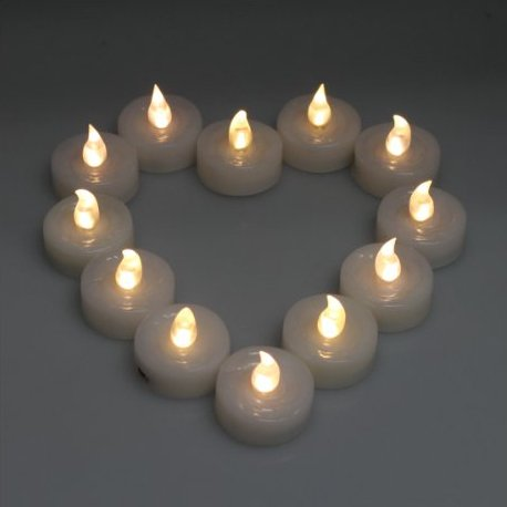 Domire Warm White 12 Candle Set Flickering Led Candles, Flameless Tea Lights For Decoration, Festivals,