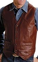 Roper Saguaro West Goat Nappa Leather Vest, BROWN, 3XL