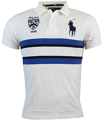 Polo Ralph Lauren Mens Custom Fit Big Pony Mesh Polo Shirt - L - White/Blue/Black