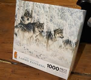 The Art of Larry Fanning 1000 Piece Puzzle - Crystal Forest Gray Wolves