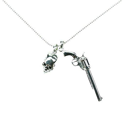 Poizen Industries Pistola P1-Collana da donna, motivo: teschio, colore: nero/argento, taglia unica Modest Wear, argento, Taglia unica