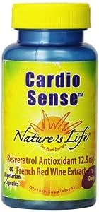 Nature's Life Cardio Sense, 250 Mg, Reveratrol Antioxidant, French Wine Extract, 12.5 mg, 60  Vegetarian Capsules