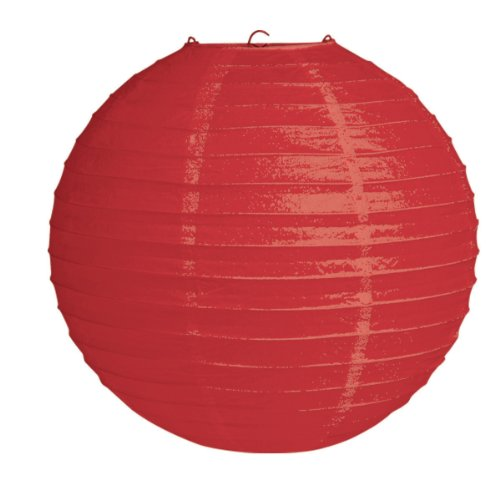 "Creative Converting 12"" Round Hanging Paper Lantern, Red - 1"