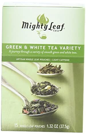 Mighty Leaf Tea Green & White Variety, 15-Count Whole Leaf Pouches