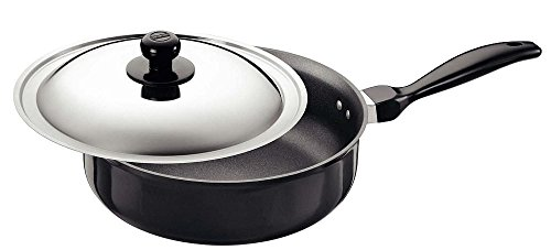 Futura Q91 Non-Stick Curry Pan, Saute Pan, 3-1/4 Litre with Steel Lid, Gray