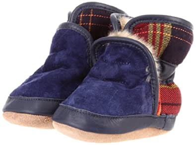 Robeez Kid's Cozy Ankle Bootie (Infant/Toddler), Navy Plaid, 0-6 Months (1-2 M US Infant)