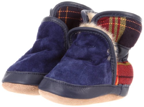 Robeez Kid's Cozy Ankle Bootie (Infant/Toddler), Navy Plaid, 6-12 Months (2.5-4 M US Infant)