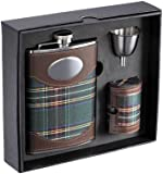 """Visol """"Edinburgh"""" Plaid Cloth Stainless Steel Deluxe Flask Gift Set, 8-Ounce"""