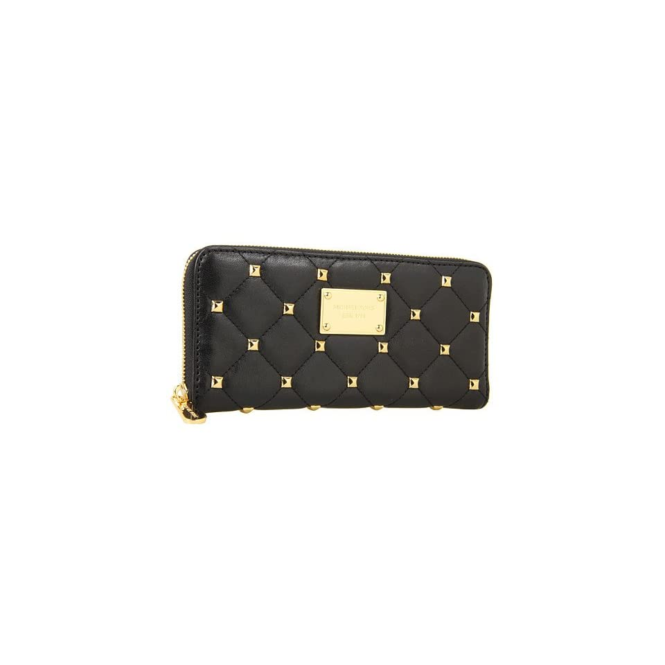 4527d40a39edcb Michael Kors Quilted Studs Zip Around Continental Wallet Black Shoes ...