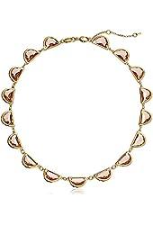 "Fossil ""Geometric Mix"" Half Round Peach Pendant Necklace"