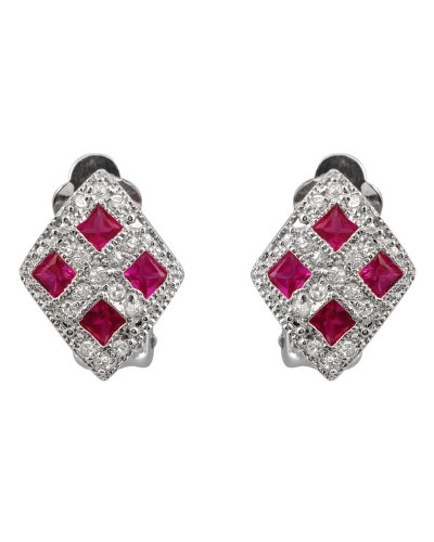 Starr's 925 Sterling Silver Button Earrings Pave Cubic Zirconia & Hot Pink Ruby Diamond Shaped - Incl. ClassicDiamondHouse Free Gift Box & Cleaning Cloth