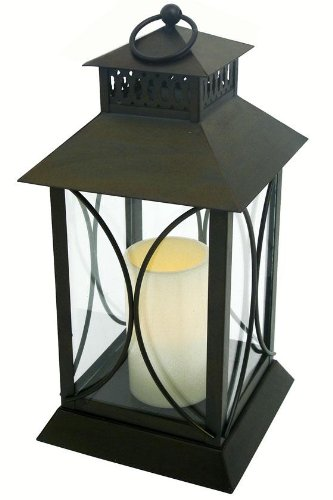 Neuporte Flameless Candle Lantern, 15″H X 7″W X 7D, OIL RUB BRONZE