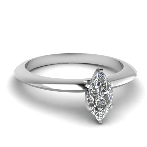 Fascinating Diamonds Knife Edge Solitaire Engagement Ring 0.65 Ct Marquise Cut Flawless Diamond 14K Gia