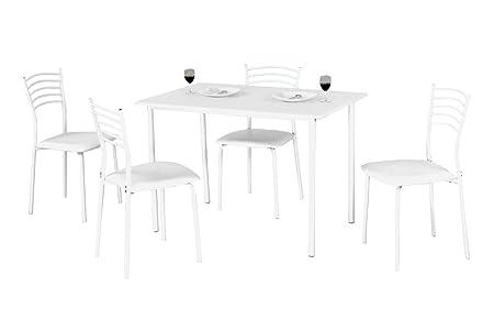 Set - Tavolo e quattro sedie in metallo bianco