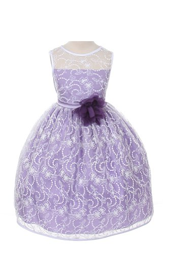 Girl'S Elegant Flower Girl Party Holiday Dress - White Lace/Lavender 4 front-921960