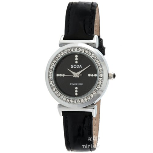 Ufingo-Waterproof Quartz Watch For Lady/Women/Girls-Black Leather Band Black Dial With Rhinestone Edge