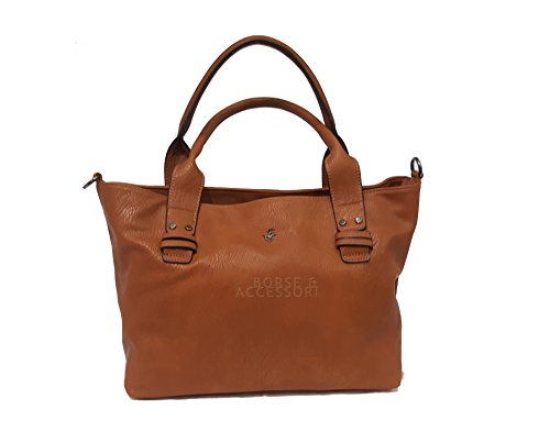 Borsa donna Beverly Hills POLO Club due manici colore cuoio BH702