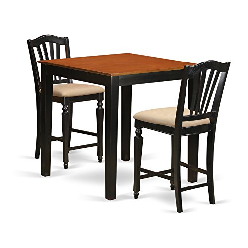 East West Furniture PBCH3-BLK-C 3 Piece High Top Table And