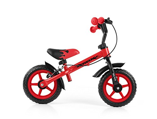 Milly Mally Dragon Balance Bike Con Freni E Campana Rosso