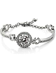 Silver Shoppee Ring Of Undying Love Rhodium Plated Crystal And Cubic Zirconia Studded Alloy Bracelet