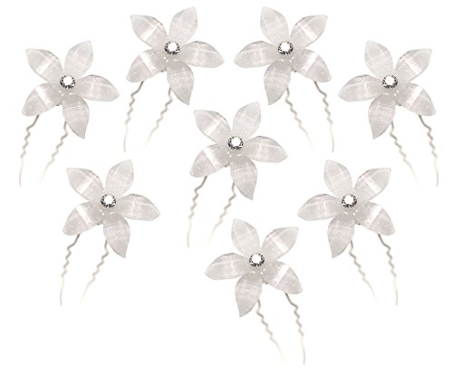 White Flower Hair Pins with Rhinestone Crystal Center for Wedding, Prom, Dance or Special Event Gift (Set of 8)