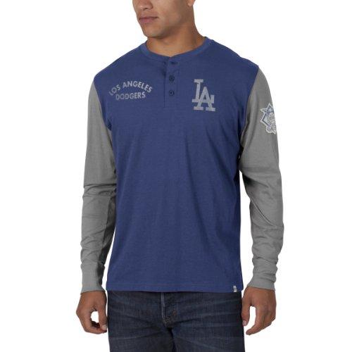 Mlb Los Angeles Dodgers Men'S Homefield Henley Tee, Large, Bleacher Blue