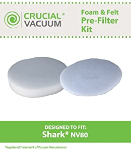 Shark Washable, Reusable NV80 1 Foam and 1 Felt Filter; Fits NV80 Models; Part # XFF80;  Designed & Engineered By Crucial Vacuum