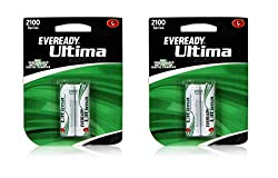 Eveready Ultima Rechargeable 2100 mAh NIMH AA Battery - Set of 4 Batteries (2x2)