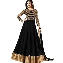The Desi Attire Black Color Georgette Semi Stitched Salwar Suit for Women Party Wear ( Dress Material for Women _ Anarkali Suits )